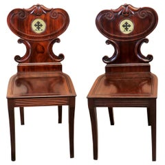 Mahogany English Regency Pair of Antique Hall Chairs