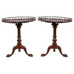Mahogany Flip Top Side Tables with Gallery