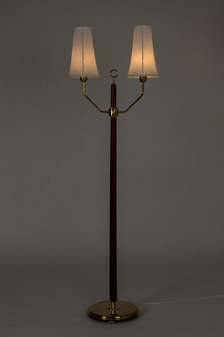 Scandinavian Modern Mahogany Floor Lamp with Two Shades by Hans Bergström For Sale