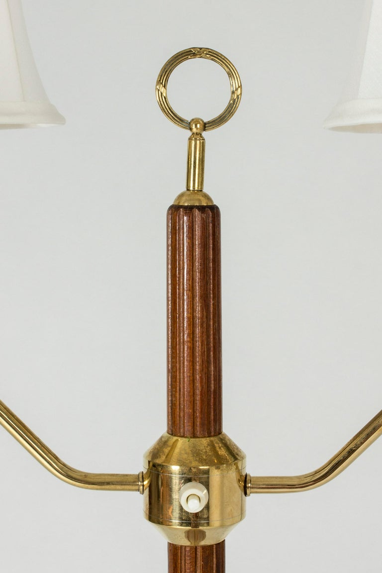Swedish Mahogany Floor Lamp with Two Shades by Hans Bergström For Sale