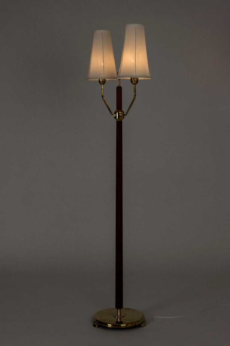 Mahogany Floor Lamp with Two Shades by Hans Bergström For Sale 1