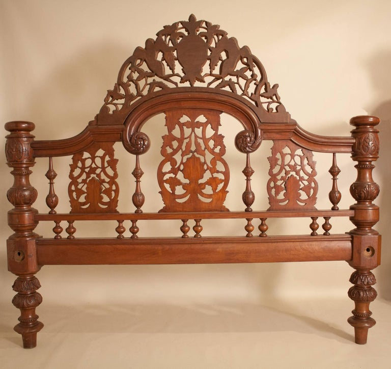 Mahogany Four Post Tester or Canopy Bed from British India For Sale 12
