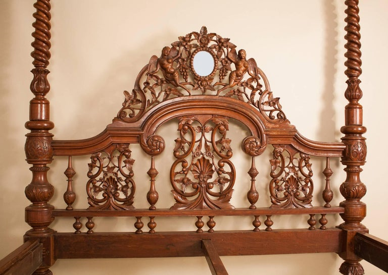 Mahogany Four Post Tester or Canopy Bed from British India In Good Condition For Sale In Heath, MA