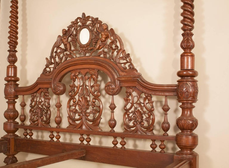 20th Century Mahogany Four Post Tester or Canopy Bed from British India For Sale