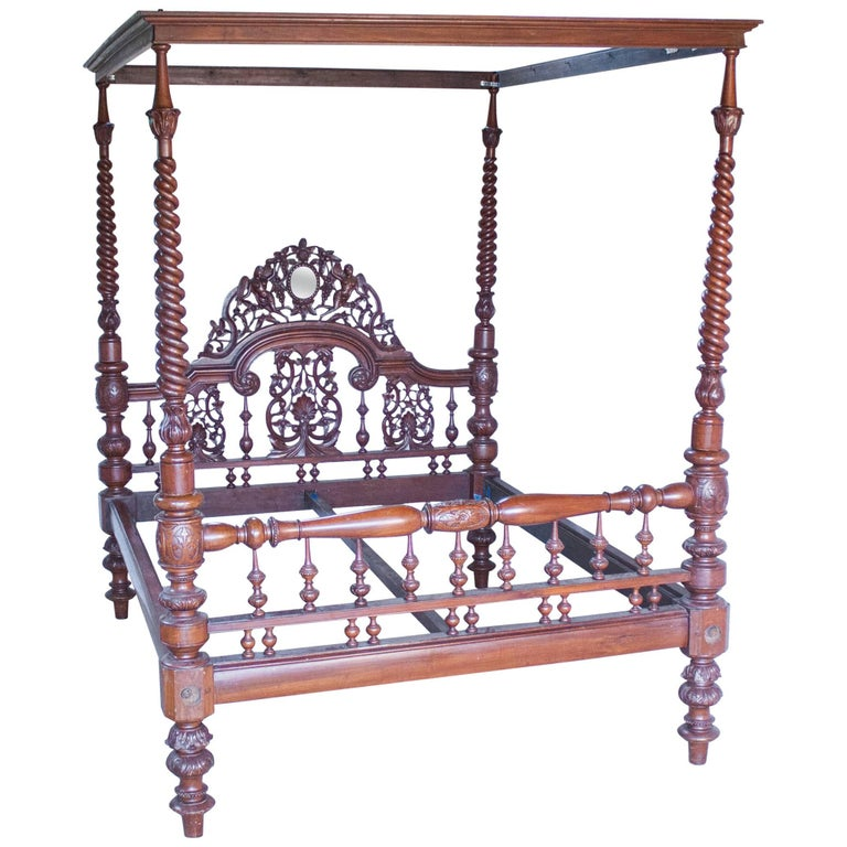Mahogany Four Post Tester or Canopy Bed from British India For Sale