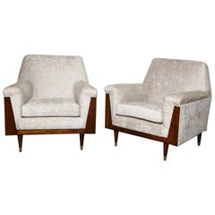 Pair of Mahogany Frame Club Chairs