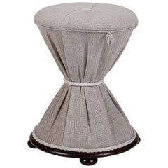 Mahogany Framed English Diabolo Style Stool in Linen