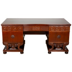 Mahogany Freestanding Desk Attributed to Lysberg & Hansen of Copenhagen