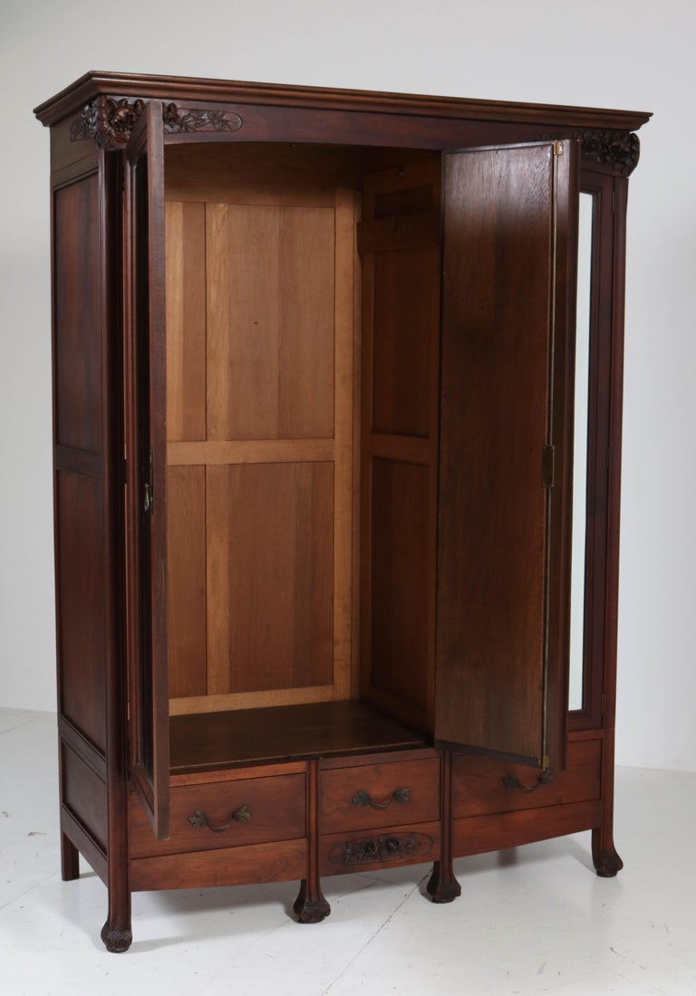 Mahogany French Art Nouveau Armoire or Wardrobe, 1900s For Sale 6