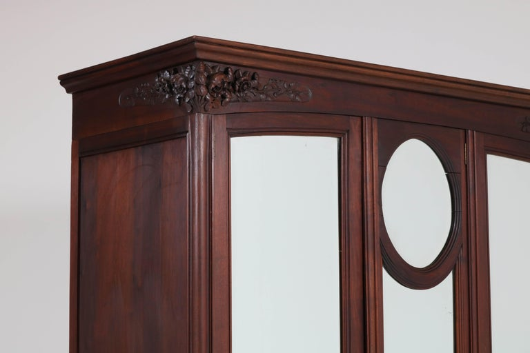 Mahogany French Art Nouveau Armoire or Wardrobe, 1900s In Good Condition For Sale In Amsterdam, NL