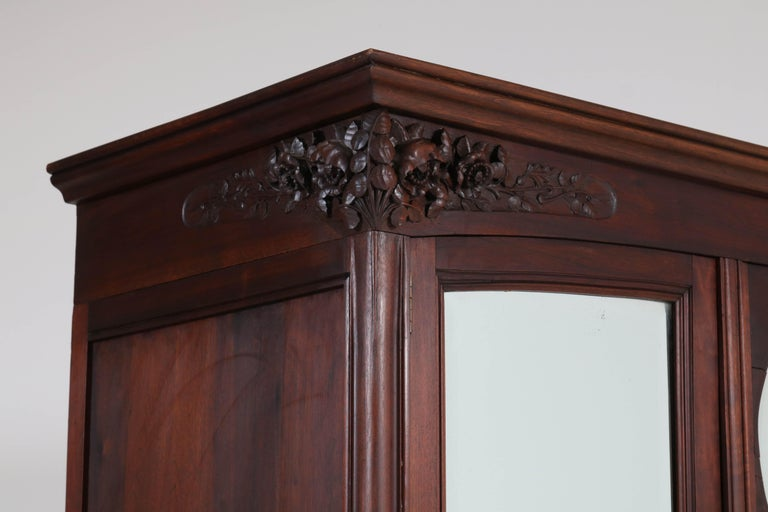 Early 20th Century Mahogany French Art Nouveau Armoire or Wardrobe, 1900s For Sale