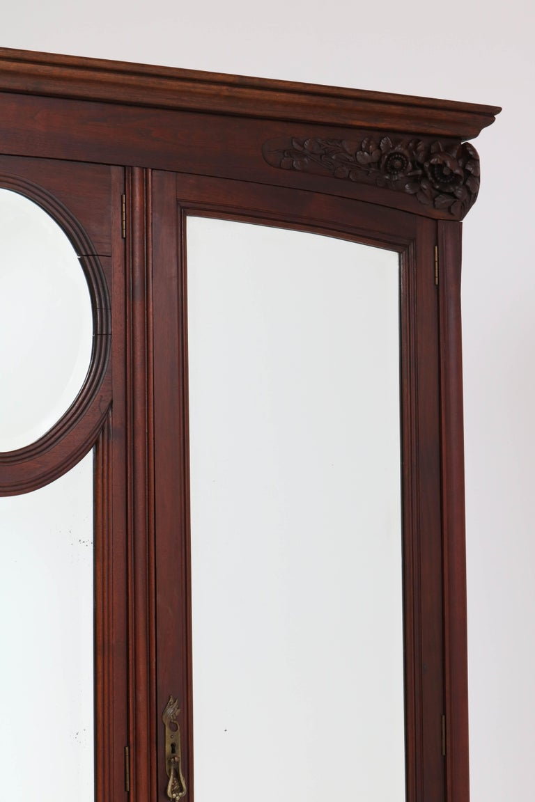 Brass Mahogany French Art Nouveau Armoire or Wardrobe, 1900s For Sale