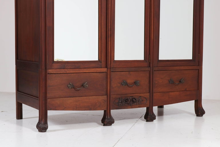 Mahogany French Art Nouveau Armoire or Wardrobe, 1900s For Sale 2