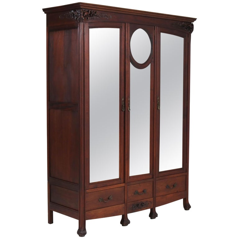 Mahogany French Art Nouveau Armoire or Wardrobe, 1900s For Sale