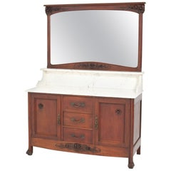 Mahogany French Art Nouveau Vanity Cabinet with Beveled Mirror, 1900s