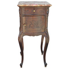 Mahogany French Marble-Top Nightstand or Side Table