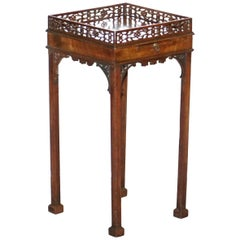 Mahogany Fret Work Carved Jardiniere Stand / Table with Butlers Serving Tray