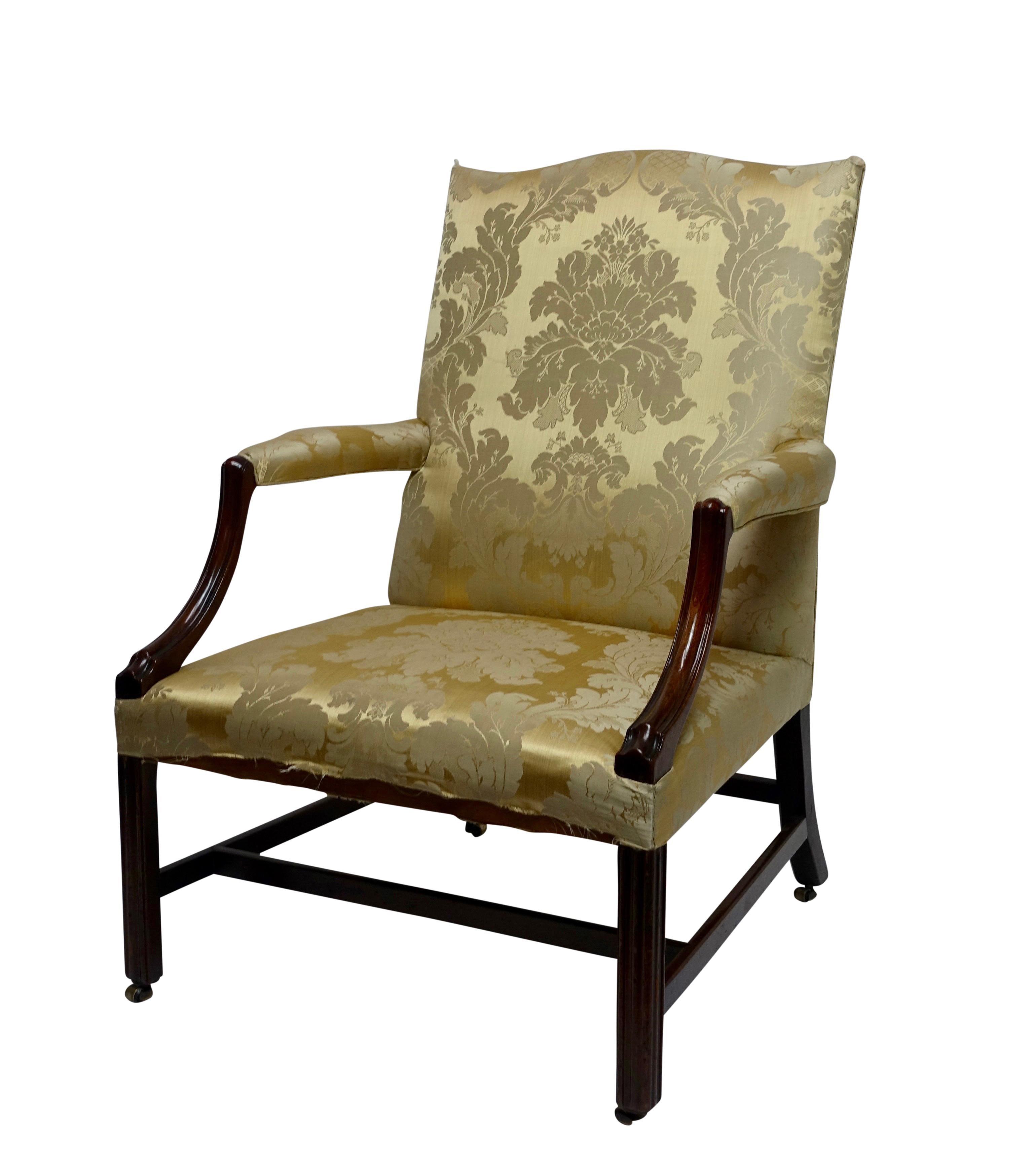 Mahogany Gainsborough Library Chair, England 18th Century