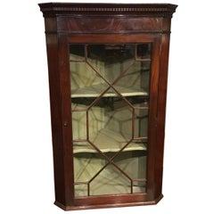 Mahogany George III Period Astragal Glazed Hanging Corner Cabinet