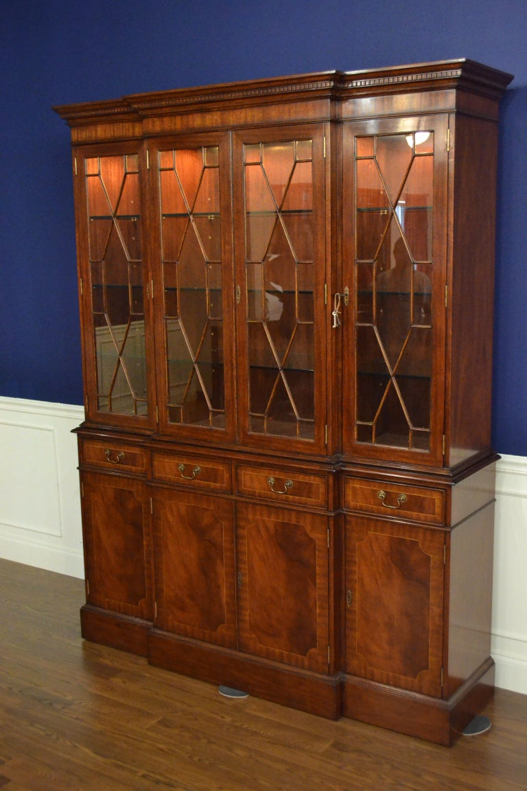 American Mahogany Georgian Style Four Door Bookcase China Cabinet by Leighton Hall For Sale