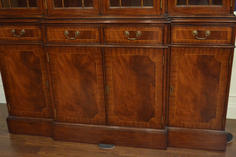 Mahogany Georgian Style Four Door Bookcase China Cabinet by Leighton Hall In New Condition For Sale In Suwanee, GA