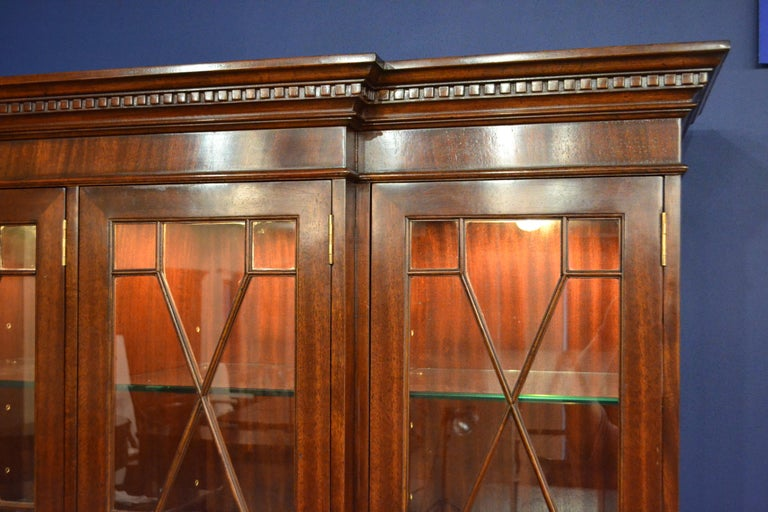 Mahogany Georgian Style Four Door Bookcase China Cabinet by Leighton Hall For Sale 2