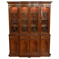Mahogany Georgian Style Four Door Bookcase China Cabinet by Leighton Hall