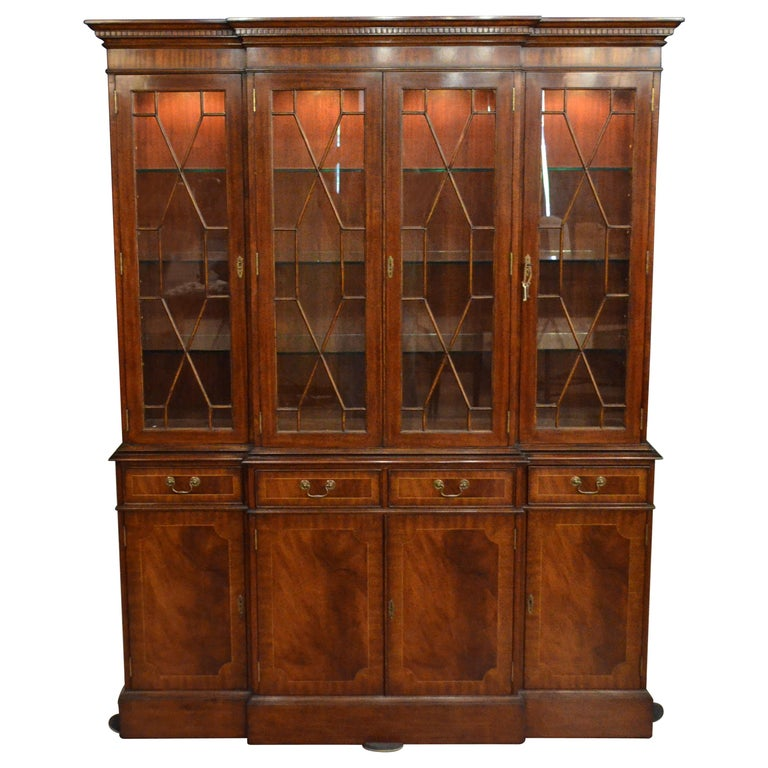 Mahogany Georgian Style Four Door Bookcase China Cabinet by Leighton Hall For Sale