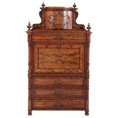 Mahogany German Victorian Secretaire Abattant or Drop-Front Desk, 1870s