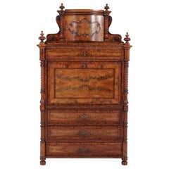 Mahogany German Victorian Secretaire Abattant or Drop-Front Desk, 1870s