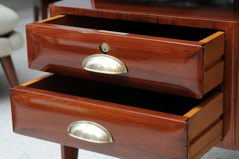 Mahogany Glass And Brass Executive Desk Paolo Buffa For