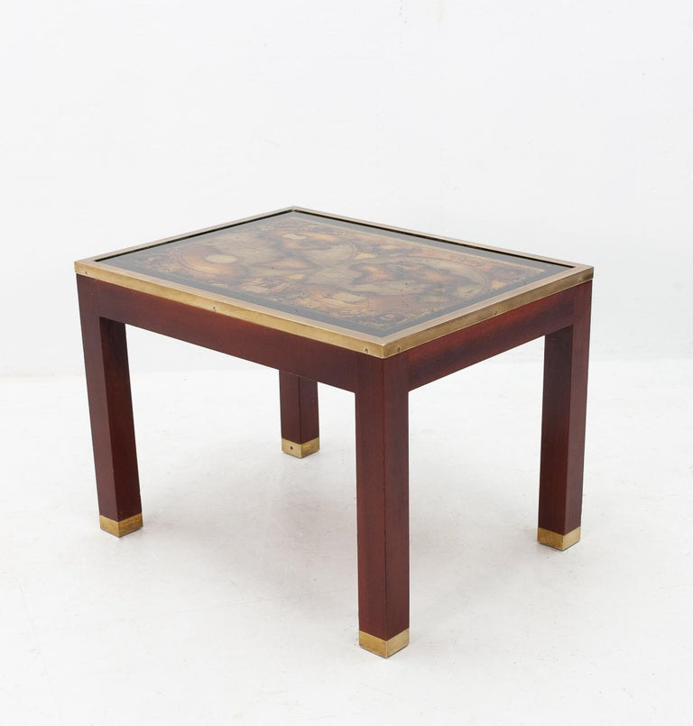 Mid-20th Century Mahogany Glass Map Side Table For Sale
