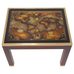 Mahogany Glass Map Side Table