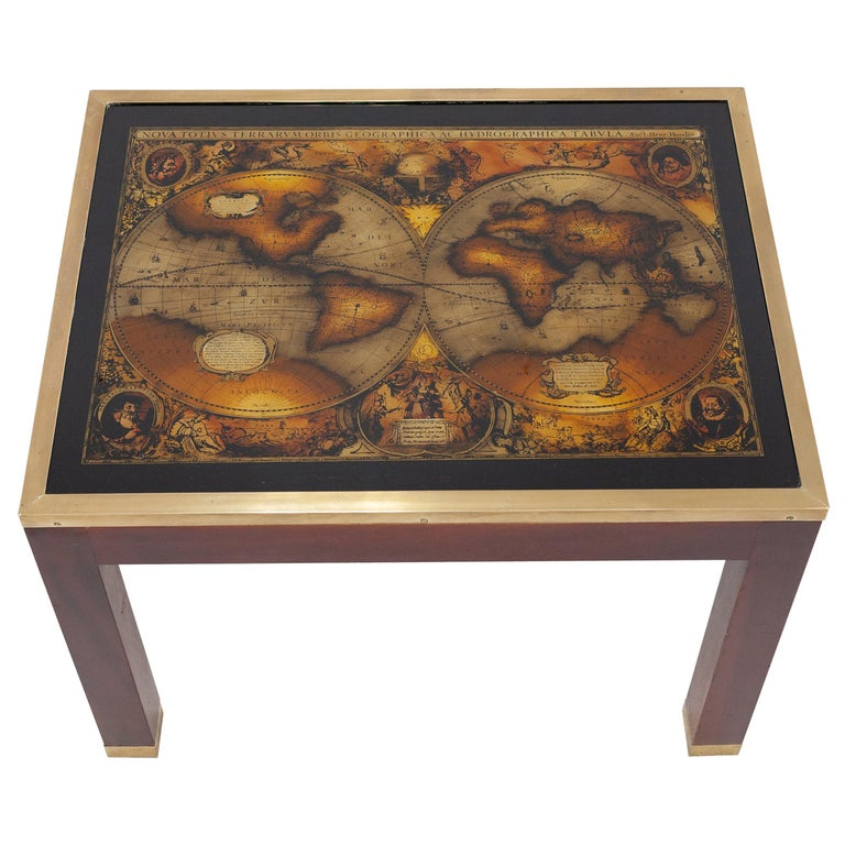 Mahogany Glass Map Side Table For Sale