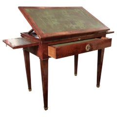 Mahogany & Green Leather Neoclassical French Work Table, 19th Century