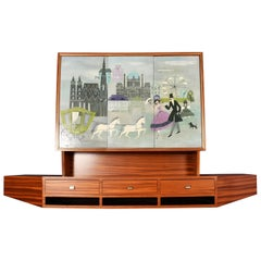 Mahogany Hanging Bar Austria 1950s Midcentury Cabinet Painting by Jahnass