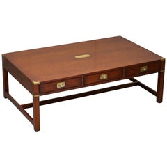 Mahogany Harrods London Kennedy Military Campaign Coffee Table Drawers