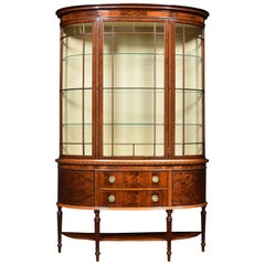 Mahogany Inlaid Bow Fronted Display Cabinet