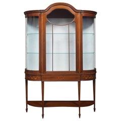 Mahogany Inlaid Bow Fronted Display Cabinet