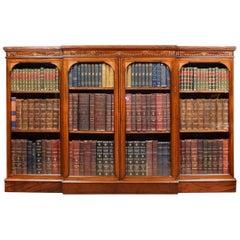 Mahogany Inlaid Breakfront Bookcase