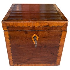 Mahogany inlaid cube tea caddy with key early 19th century