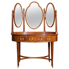 Mahogany Inlaid Oval Dressing Table