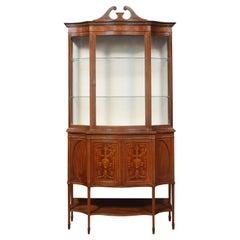 Mahogany Inlaid Serpentine Fronted Display Cabinet