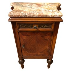 Mahogany Inlay and Marble Top Nightstand End Table Cabinet