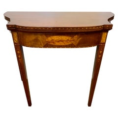 Mahogany Inlay Flip Top Game Console Table