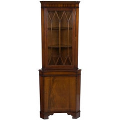Mahogany Inverted Bow Front Corner Cabinet Cupboard