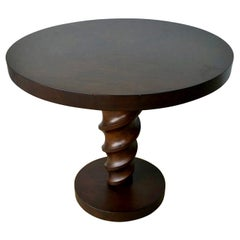 Mahogany Johan Tapp Carved Center Corkscrew Pedestal and Round Top Side Table