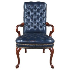 Mahogany & Leather Queen Anne Tufted Nailhead Executive Office Desk Arm Chair