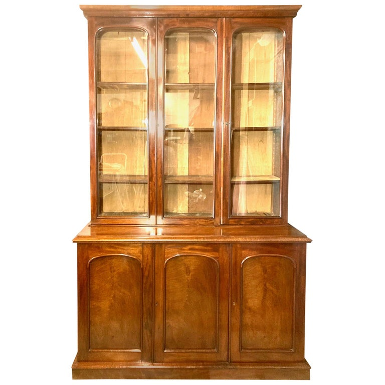 Mahogany Library Bookcase, Original  Bookcase, English, circa 1860