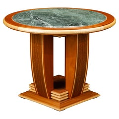 Mahogany, Maple and Marble Center Table or Tea Table by Ron Puckett